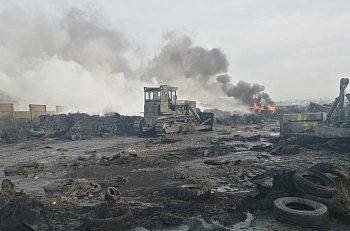Nasi strażacy przy ogromnym pożarze opon w Raciniewie-2439